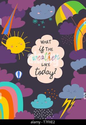 Cartoon frame with weather. Sun, cloud, rain, rainbow,snow - Stock Photo