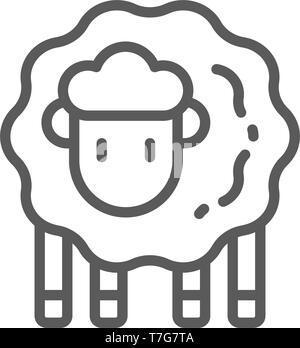 Lamb, sheep line icon. - Stock Photo
