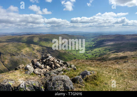 The Valley of Longsleddale from Goat Scar Lake District, Cumbria, UK - Stock Photo