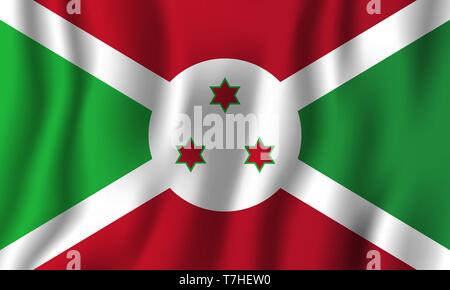 Burundi realistic waving flag vector illustration. National country background symbol. Independence day. - Stock Photo