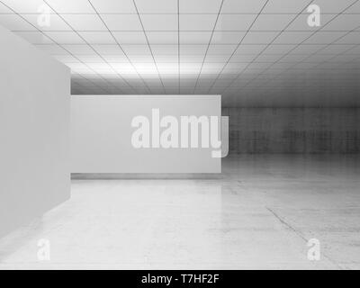 Abstract empty minimalist interior design, white stands levitating in exhibition gallery with walls made of polished concrete and shiny ceiling. Conte - Stock Photo