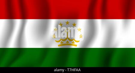 Tajikistan realistic waving flag vector illustration. National country background symbol. Independence day. - Stock Photo