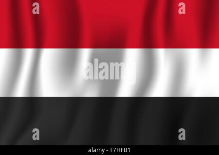 Yemen realistic waving flag vector illustration. National country background symbol. Independence day. - Stock Photo