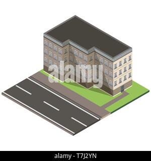 Isometric building city 3d icon vector design house illustration concept isolated - Stock Photo