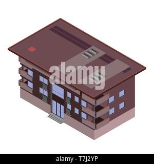 Isometric building city 3d icon vector design house illustration isolated exterior flat - Stock Photo