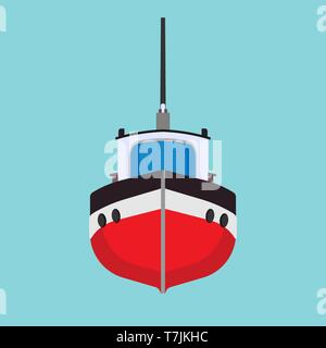 Tug boat vector icon transportation vessel sea. Marine ship industry freight. Tow mini tanker flat cartoon front view - Stock Photo