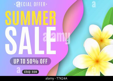 Banner for the Summer Sale. Liquid style design. Colorful abstract shapes. Tropical flowers plumeria. Special offer. For your business. Vector illustr - Stock Photo