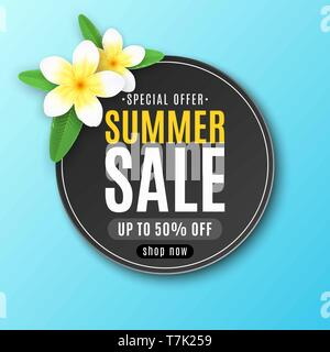 Summer round label for sale. Special offer. Realistic tropical plumeria flowers. Seasonal web banner for your business. Summer collection. Vector illu - Stock Photo