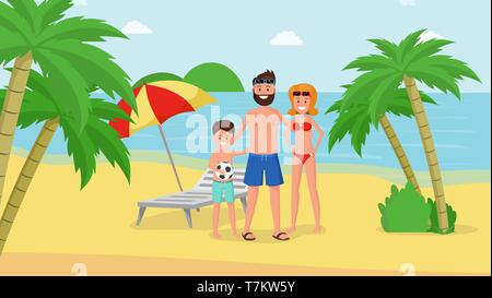Lovely cartoon parents with child having happy family vacation vector illustration. Mother father and son on gold beach. Seashore with palm trees landscape - Stock Photo