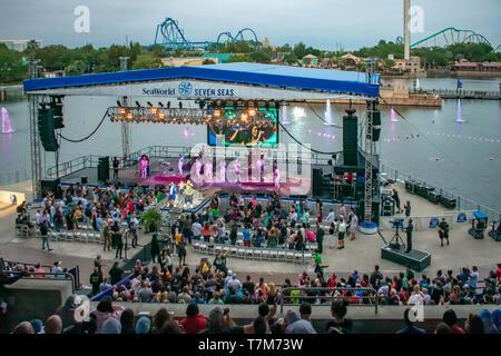 Orlando, Florida. March 17, 2019. Alexander Delgado and the band by Gente de Zona singing urban music at Seaworld in International Drive area. - Stock Photo