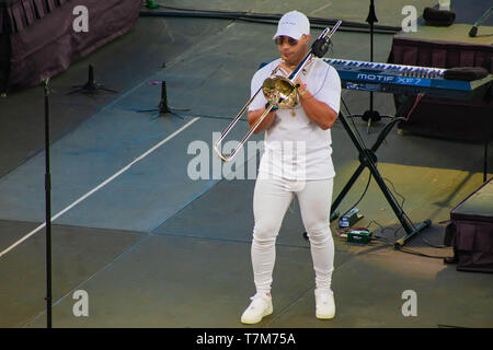 Orlando, Florida. March 17, 2019. Band Trumpeter by Gente de Zona at Seaworld  in International Drive Area . - Stock Photo