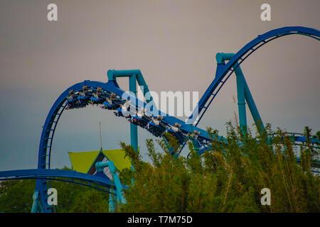 Orlando, Florida. March 17, 2019. People enjoying Manta Ray rollercoaster at Seaworld  in International Drive Area . - Stock Photo
