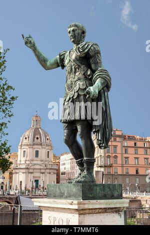 Roman Emperor Trajan statue in Rome, Italy. - Stock Photo