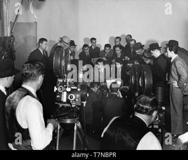 ORSON WELLES October 31st 1938 post WAR OF THE WORLDS broadcast press conference CBS Mercury Theatre on the Air Columbia Broadcasting System Photo - Stock Photo