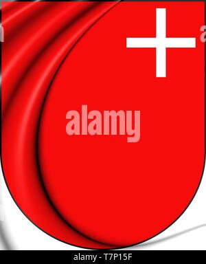 3D Schwyz Coat of Arms, Switzerland. 3D Illustration. - Stock Photo