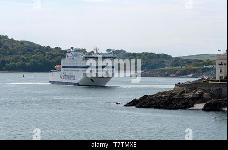 Plymouth, England, UK. May 2019.  Roll on roll off ferry Armorique departing Plymouth bound for Roscoff, France. - Stock Photo