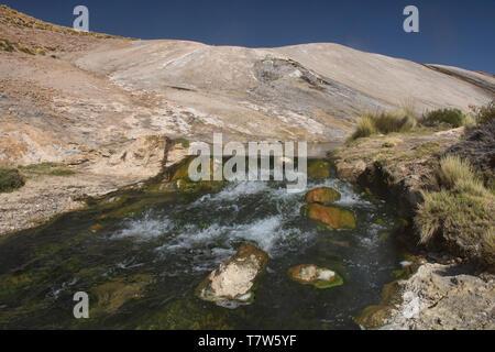 The boiling Rio Blanco thermal river near El Tatio Geyser, San Pedro de Atacama, Chile - Stock Photo