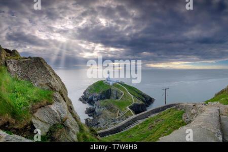 Holyhead, UK - May 2, 2019:  South Stack Lighthouse on the western most tip of Anglesey. - Stock Photo