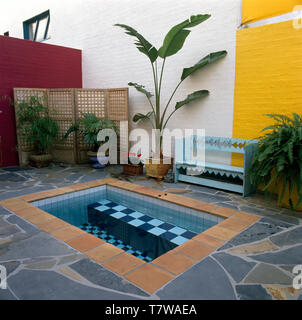 Tiled rectangular jacuzzi on patio with lush green plants in pots and a rustic painted bench - Stock Photo