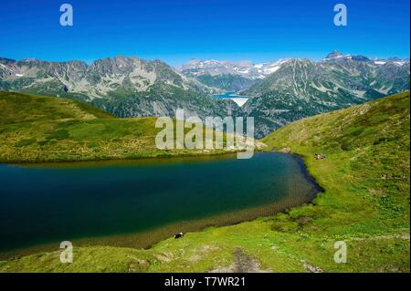 Switzerland, Valais, Tour du Mt Blanc, Trient, Tête de Balme, Catogne lake and Emosson lake in the back - Stock Photo
