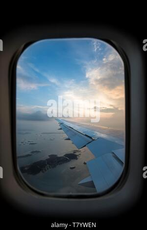 Papua-New-Guinea, Papua bay, National Capital District, flight between Port Moresby and Singapore - Stock Photo