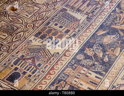 Mosaic floor in Umm ar-Rasas, UNESCO World Heritage Site, Amman Governorate, Jordan, Middle East - Stock Photo