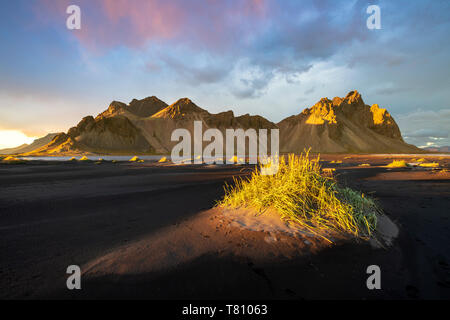 Dramatic light with view of the mountains of Vestrahorn from black volcanic sand beach at sunset, Stokksnes, South Iceland, Iceland, Polar Regions - Stock Photo