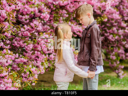 Spring time to fall in love. Kids in love pink cherry blossom. Love is in the air. Couple adorable lovely kids walk sakura garden. Tender love feelings. Little girl and boy. Romantic date in park. - Stock Photo