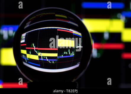 Crystal ball on the background of the stock exchange - Stock Photo