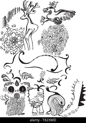 Black and white illustration of psychedelic Kota. Patterns, friends, meditation. - Stock Photo