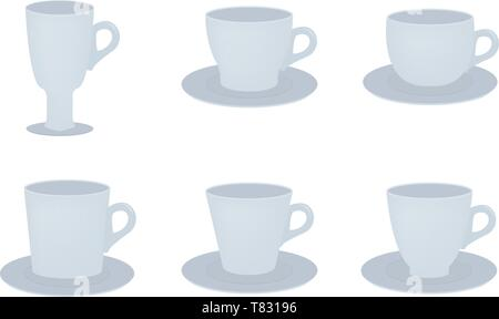 Cups set icon in flat style on a white background - Stock Photo