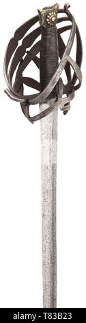 A Venetian schiavona Circa 1600. Double-edged blade with flattened mid-ridge and pronounced base of the blade. Typical skeleton basket hilt, leather-covered grip (partially replaced) and brass cat's head pommel. Surfaces partially somewhat pitted. Length 103 cm. historic, historical, sword, swords, weapons, arms, weapon, arm, fighting device, military, militaria, object, objects, stills, clipping, clippings, cut out, cut-out, cut-outs, melee weapon, melee weapons, metal, 17th century, Additional-Rights-Clearance-Info-Not-Available - Stock Photo
