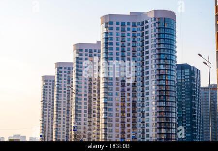 Kyiv, Ukraine - April 06, 2019: New buildings on Poznyaki residential area in Darnitskiy district of Kyiv, Ukraine - Stock Photo
