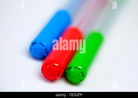 pens in three different colors - Stock Photo