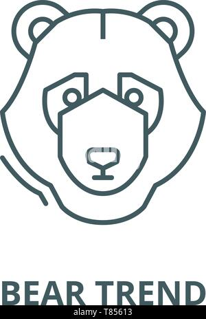 Bear trend vector line icon, linear concept, outline sign, symbol - Stock Photo