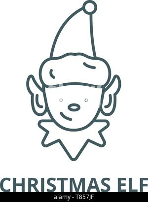 Christmas elf vector line icon, linear concept, outline sign, symbol - Stock Photo
