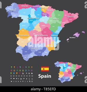 Spain high detailed vector map (colored by autonomous communities) with administrative divisions - Stock Photo