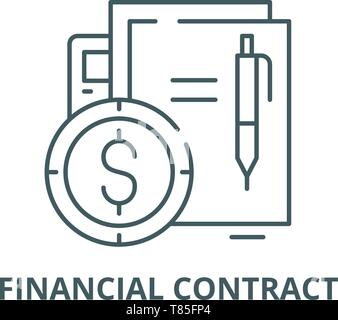 Financial contract vector line icon, linear concept, outline sign, symbol - Stock Photo