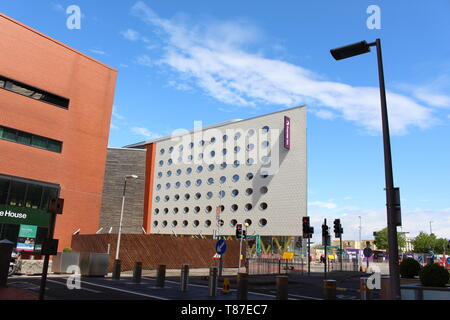 10 May 2019: Cardiff Bay, Cardiff UK:  A newly built Premier Inn opening soon in Cardiff Bay. - Stock Photo