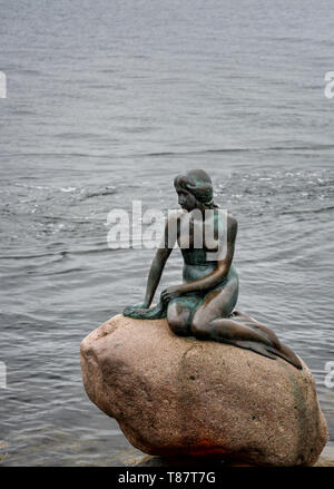 Little mermaid statue at the seaside in Copenhagen. Denmark - Stock Photo