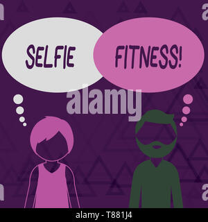 Writing note showing Selfie Fitness. Business concept for Taking pictures of oneself during workout or inside the gym Bearded Man and Woman with the B - Stock Photo