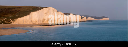 Europe, UK, england, Sussex, Seven Sisters panorama - Stock Photo
