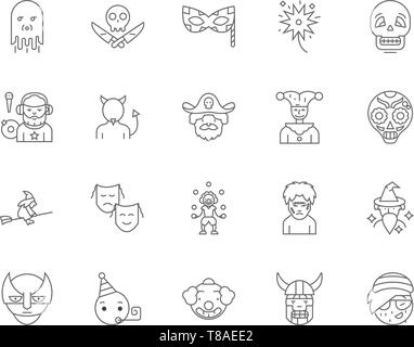 Clown line icons, signs, vector set, outline illustration concept  - Stock Photo