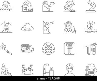 Emergincies and disasters line icons, signs, vector set, outline illustration concept  - Stock Photo