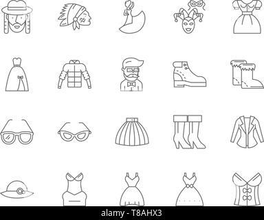 Fancy dress line icons, signs, vector set, outline illustration concept  - Stock Photo