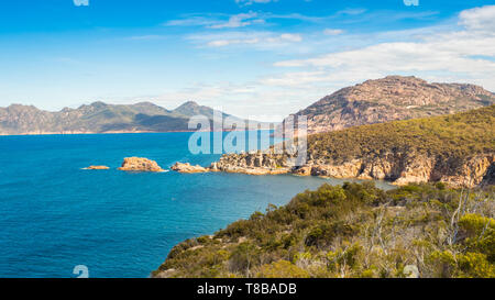 The coastline seen from Cape Tourville Walk in Freycinet National Park in Tasmania, Australia. - Stock Photo