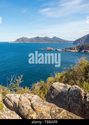 The coastline seen from Cape Tourville Walk in Freycinet National Park in Tasmania, Australia. - Stock Photo