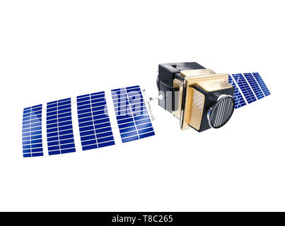 artificial satellite concept 3D rendering isolated on white - Stock Photo