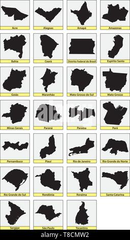 twenty seven black maps of the Subdivisions of Brazil - Stock Photo