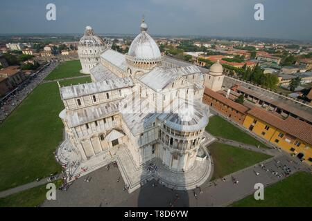 Italy, Tuscany, Pisa, the Duomo, from the top of the leaning tower view of the Cathedral of Santa Maria Amunta - Stock Photo
